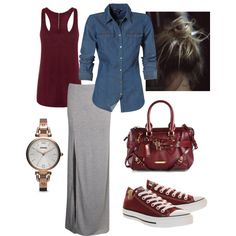 Casual maxi skirt with denim and converse by kkhuey on Polyvore featuring Boohoo, Converse, Burberry and FOSSIL