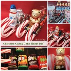 Christmas Candy Cane Sleigh DIY. Use coupons and the dollar store to stock up for these cute little snowmen, teddy bear and santa candy cane sleighs.