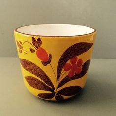 Vintage Hand Painted Italian 1970s Mod Floral Yellow Orange Ceramic Vase Pot