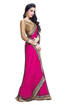 Pink Chiffon Latest Party Wear Saree