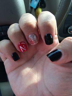 Husker Blackshirts Nail design! shellac (Gel) polish on natural nail...