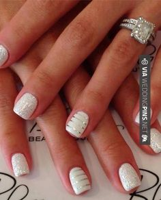 Awesome! - Wedding Nails 2015 - Stripe and sparkle wedding nails | CHECK OUT THESE OTHER AMAZING INSPIRATIONS FOR GREAT Wedding Nails 2015 OVER AT WEDDINGPINS.NET | #weddingnails2015 #weddingnails #nails #boda #weddings #weddinginvitations #vows #tradition #nontraditional #events #forweddings #iloveweddings #romance #beauty #planners #fashion #weddingphotos #weddingpictures
