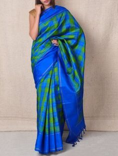 Blue & Olive Korvai Chettinad Saree - Checks