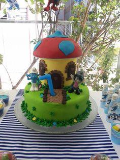 Bolo casinha dos Smurfs!!!!!
