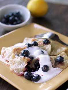 Lemon Blueberry Pierogi with Spiced Sour Cream  D V using right products