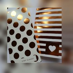 Copper stripes and polka dots on high gloss cream paper. Perfect inserts for all your journaling needs. Link above. #journals #inserts #bulletjournaling #midori #fauxdoriinserts #copper #foxyfix #stayclassy #plannergirl #planner #notebooks #biblejournaling by craftygirlsx2