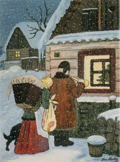 Czech Christmas theme, painted by the Czech painter Josef Lada His work portrays memories of his childhood in the village Hrušice, Czechoslovakia. Christmas Themes, Kids Christmas, Vintage Christmas, O Holy Night, Twelfth Night, Winter Theme, Winter Scenes, Xmas Cards, Czech Republic