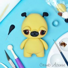 This little guy definitely needs a hug . (I had the same look on my face today when I found out theres no more peanut butter left ) . Kid Cupcakes, Animal Cupcakes, Wedding Cakes With Cupcakes, Cupcake Cakes, Fondant Cake Toppers, Fondant Figures, Fondant Cupcakes, Cupcake Toppers, Cake Topper Tutorial