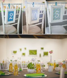 A Modern Wedding in an Art Museum. Love the chair signs