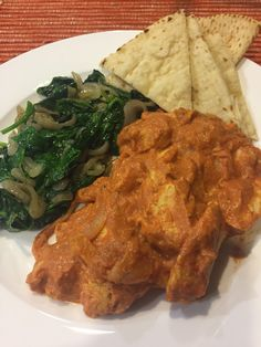 """Plated's Indian Butter Chicken with Sautéed Spinach and Toasted Naan was a wreck waiting to happen, so be careful. I could tell this one was going to go south quickly, even though Plated states that it's a """"customer favorite. Plated Reviews, Indian Butter Chicken, Sauteed Spinach, Meal Delivery Service, Naan, Palak Paneer, Plating, Toast, Meals"""
