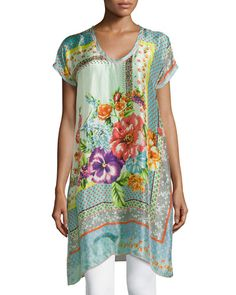 TA03C Johnny Was Collection Modisch Printed Silk Long Tunic, Women's