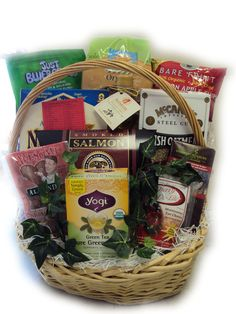 A heart-healthy gift basket with foods to help lower blood pressure and cholesterol.