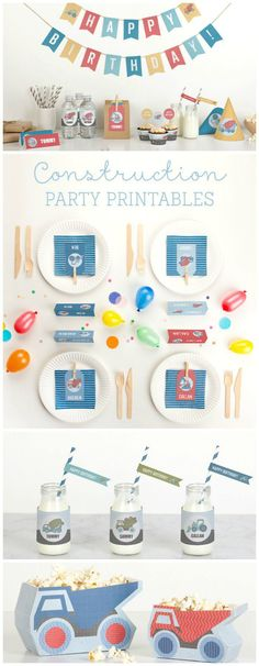 Free printable decorations for a construction party for kids birthdays. My boys will love this party theme!