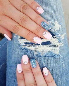 26 awe inspiring nail art designs for short nails 2 Love Nails, Fun Nails, Pretty Nails, Nail Art Cute, Indigo Nails, Manicure E Pedicure, Super Nails, Creative Nails, Nail Arts