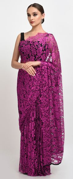 Magenta- Black French Chantilly Lace Saree With Satin Crepe Blouse
