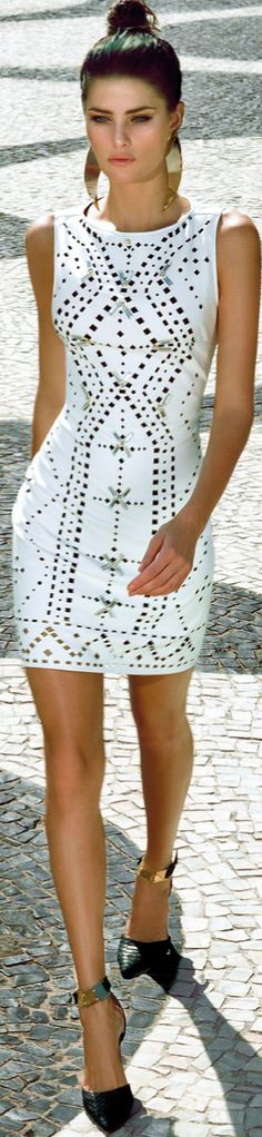 Gorg head to toe. Gorgeous white dress + gold statement earrings + gold cuffed black heels
