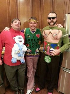Post with 6085 votes and 42827 views. My friend just plain gets how to do ugly sweater parties Ugly Christmas Jumpers, Mens Ugly Christmas Sweater, Funny Christmas Sweaters, Ugly Sweater Party, Xmas Sweaters, Funny Christmas Photos, Christmas Humor, Christmas Stuff, Christmas Time