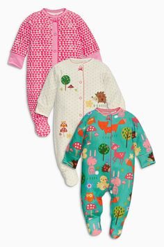Buy Turquoise Woodland Sleepsuits Three Pack online today at Next: Deutschland