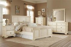 Laurinda Cottage Antique White Wood Master Bedroom Set