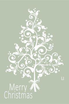 White Christmas Tree on Sage Green