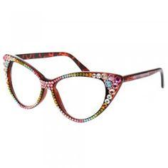 Shiny!! Pastel Crystal Cat Eye Glasses