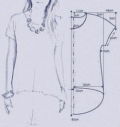 """vamos combinar: MOLDE BLUSA MULLET """"Smooth sleeve hi/low tshirt"""", """"check out my website for more . Tunic Sewing Patterns, Sewing Blouses, Clothing Patterns, Dress Patterns, Shirt Patterns, Sewing Stitches, Coat Patterns, Fashion Sewing, Diy Fashion"""