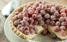 Sugared Cranberry and Lemon Curd Pie // This will be a showpiece on your holiday table! #holiday #pie #dessert #recipe
