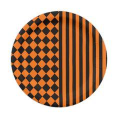 #stripes - #Halloween mix pattern paper plate