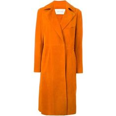 Cédric Charlier double breasted coat ($2,110) ❤ liked on Polyvore featuring outerwear, coats, double breasted coat, orange coat and suede coat