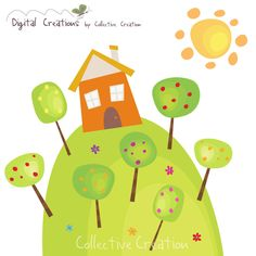 Fruit Orchid House Digital Clipart Personal by CollectiveCreation