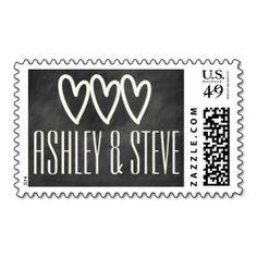 Modern chalkboard wedding stamp. Personalize names of bride and groom  => http://www.zazzle.com/modern_chalkboard_wedding_postage-172506042194846138?CMPN=addthis&lang=en&rf=238590879371532555&tc=pinHSOZPchalkboardwedding