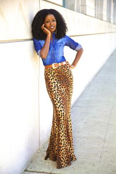 If I was long waisted and a slim tall.Denim Shirt + Leopard Print Mermaid Maxi - Style Pantry - Your fashion, culture and lifestyle stockist Animal Print Fashion, Fashion Prints, Mode Outfits, Skirt Outfits, Leopard Maxi Skirts, Maxi Styles, Look Chic, Spring Summer Fashion, Spring 2014