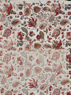 Fragment de coton imprimé, manufacture française, vers 1795-1810. Indiennes. Conservé au V&A, Londres, T.324-1992.