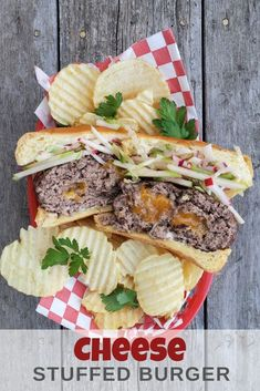 Try our simple to make Cheese Stuffed Burger the next time burgers are on the menu. Mighty delicious and soon to be a family favourite. Gourmet Burgers, Vegan Burgers, Burger Recipes, Lunch Recipes, Seafood Recipes, Beef Recipes, Dinner Recipes, Healthy Recipes, Beef Burgers
