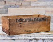 Vintage Encyclopedia Americana Crate, Volumes 1-15, Wood Dovetail Box, Wooden Crate