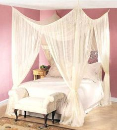 Dreamma 4 post bed canopy four corner mosquito bug net queen king size insect – Hazir Site 4 Poster Bed Canopy, Bed Net Canopy, Canopy Bed Curtains, Four Poster Bed, Diy Canopy, Bed Canopies, Corner Curtains, Curtain Room, Canopy Bedroom