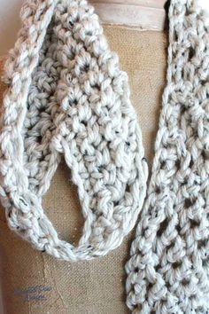 Pull Through Adjustable Crochet Scarf :: Rescued Paw Designs Quick Crochet, All Free Crochet, Crochet Yarn, Crochet Granny, Crochet Gifts, Free Knitting, Crochet Bow Ties, Crochet Scarves, Crocheted Scarf