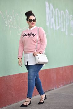 Plus Size Fashion for Women - Plus Size Outfit - Sweatshirt and Tunic - Girl with Curves