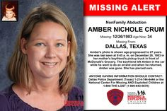 AMBER NICHOLE CRUM, Age Now: 34, Missing: 12/26/1983. Missing From DALLAS, TX. ANYONE HAVING INFORMATION SHOULD CONTACT: Dallas Police Department (Texas) 1-214-744-4444.