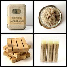 Lavender Rose Gift Set . Spa Gift Set . Handmade Soap, Sugar Scrub or Body Butter, Lip Balm and Cedar Soap Dish