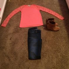Forever 21 Long Lace Sleeve Shirt Orange Shirt, Lace Sleeves, Very Good Condition! Forever 21 Tops Blouses