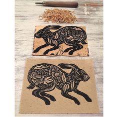 Lacey Law ~ Boxer's Baby ~ Woodcut Print Art And Illustration, Linocut Prints, Art Prints, Rabbit Sculpture, Scratchboard Art, Scandinavian Folk Art, Linoprint, Rabbit Art, Bunny Art
