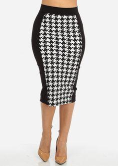 High Waisted Print Midi Skirt
