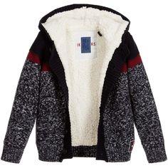 IKKS - Boys Navy Blue Knitted Cardigan with Hood | Childrensalon