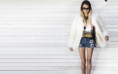 White faux fur vintage jacket