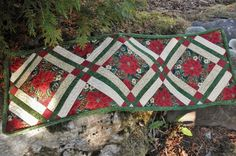Christmas Quilted Tablerunner Poinsettia and by ASeasonForQuilting, $55.00