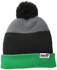 neff Men's Snappy Beanie, Green/Black/Grey, One Size -- Click image to review more details.