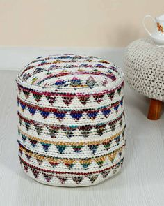 Cream Chindi Pattern Woven Bean Filled Pouffe Circular 45 x 40 cm - Homescapes Unique Home Accessories, Neat And Tidy, Lounge Seating, Recycled Fabric, Occasional Chairs, Colorful Rugs, Home Furnishings, Living Spaces