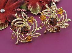 Coro Signed Amber Rhinestones Earrings Screw Backs