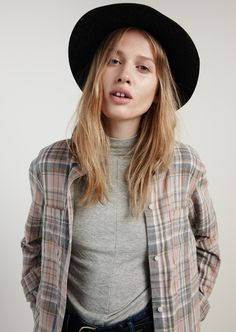 madewell ex-boyfriend shirt in camden plaid worn with the lyricist funnelneck top + madewell & biltmore® straight-brim felt fedora.
